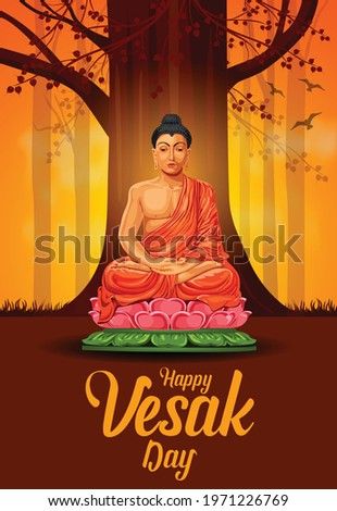 Buddha purnima vector illustration design.  Buddha sitting under Bodhi tree. Painting with happy Wesak day lettering