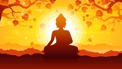 Buddha sitting under bodhi tree on sunset background-Magha Puja, Asanha Puja,Visakha Puja Day, Buddhist holiday concept.Vector Illustration