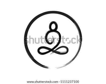 Buddha sitting zen brush stroke painting in circle isolated on white background for vector design element or logo in buddhism, meditation concept