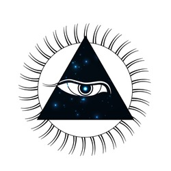 Buddha third eye sign, icon, logo, symbol. Vector illustration