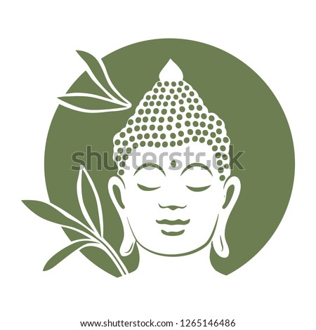 Buddha with bamboo plants in behind. logo icon