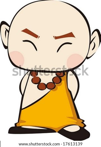Buddhism Cute Character isolated on white background