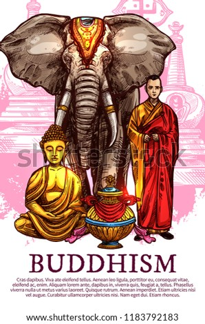 Buddhism religion sketch symbols. Vector golden Buddha statue in Zen meditation, Buddhist monastery monk with elephant and bumpa ritual vase. Religious signs Stock fotó ©