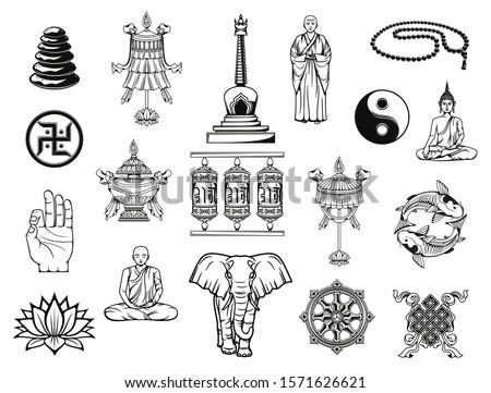 Buddhism religion sketches with Buddhist religious symbols. Vector Buddha, dharma wheel and ying yang, lotus, tibetan monk prayer wheels and meditation beads, temple stupa, om mudra, vase and parasol