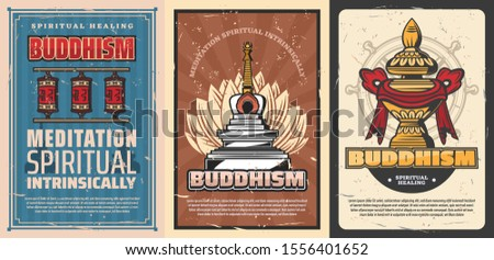 Buddhism religion vector temple stupa and sacred flower of lotus, buddhist symbols of Dharma wheel, Vase of treasure and Tibetan monk prayer wheels. Retro posters of oriental religious symbolism