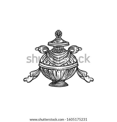 Buddhism religious symbol, bumpa vase. Buddhist worship, Hinduism Dharma religion ritual pumpa vector sketch Stock fotó ©
