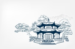 Buddhism temple card nature landscape view landscape card vector sketch illustration japanese chinese oriental line art