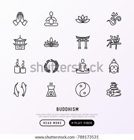 buddhism thin line icons set ...
