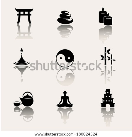 Buddhism zen philosophy icon set Vector illustration