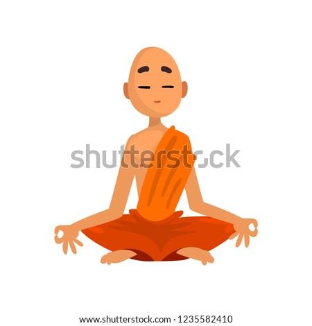 Buddhist monk cartoon character meditating in orange robe vector Illustration on a white background