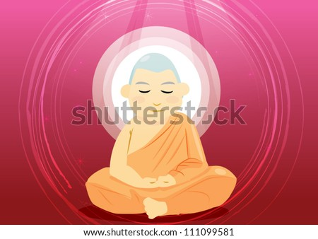 Buddhist monk meditation in sitting pose
