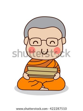 buddhist monk reading