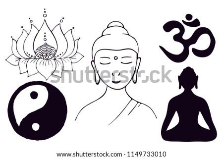 Buddhist symbols. Meditating Buddha, Lotus, Yin Yang symbol, Om symbol Vector #1149733010