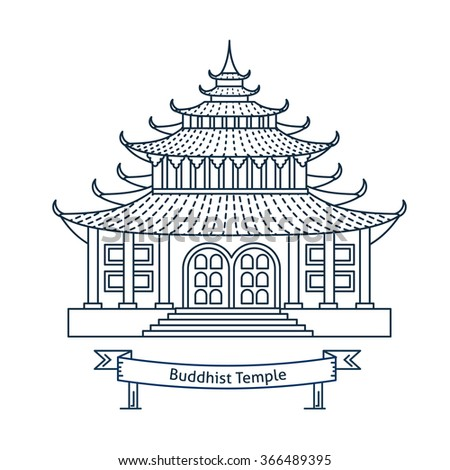 Buddhist temple, monastery. Buddhism symbol. Pagoda house. Flat line vector architecture illustration. Religion stroke icon. Religion building. For poster, flyer, web, banner, header, hero image