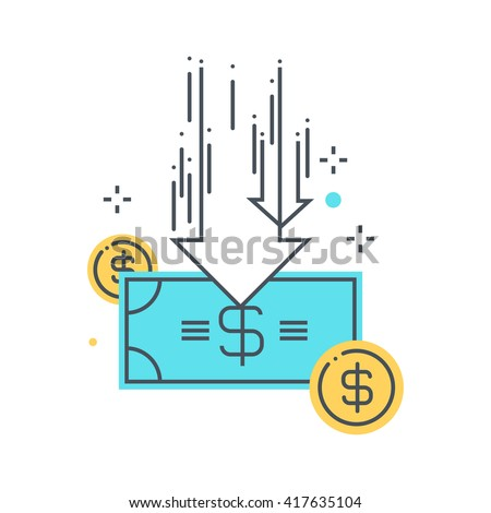 Budget cuts concept illustration, icon, background and graphics. The illustration is colorful, flat, vector, pixel perfect, suitable for web and print. It is linear strokes and fills.