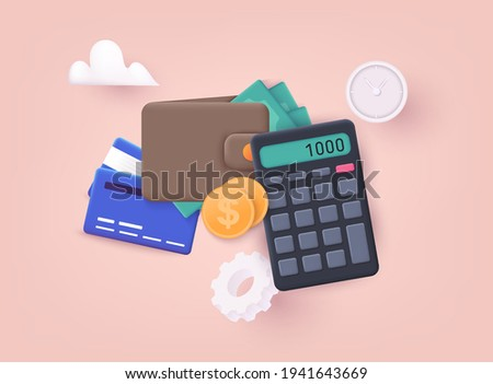 Budget management concept. Economy background with billfold and calculator. 3D Web Vector Illustrations.