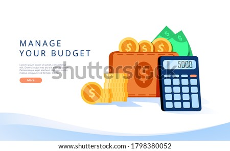 Budget management concept in vector illustration. Money economy background with billfold and calculator. Profit or revenue analysis as part of accounting. Web banner layout template.