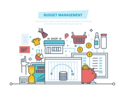 Budget management. Financial calculations, planning of finance. ?alculation of income and expenditure, optimization, preservation of budget, family and business budgets. Illustration thin line design.