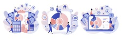 Budget management. Personal financial control. Cash flow. Tiny people is planning the personal budget. Modern flat cartoon style. Vector illustration on white background