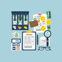 Budget planning concept. Financial accounting. Organization process. Flat style vector. Personal finance. Payment of taxes.