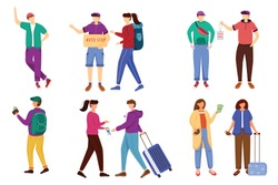 Budget tourism flat vector illustrations set. Getting ready for trip. Discounts for students. Renting apartment, couchsurfing. Cheap travelling ideas for students isolated cartoon characters