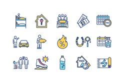 Budget tourism RGB color icons set. Hostel room. Renting apartment. Ride sharing. Hitchhiking. Public transport ticket. Hot discounts. Booking in advance. Home stay. Isolated vector illustrations