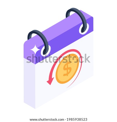 Budgetary period, isometric icon of fiscal year  Stock photo ©