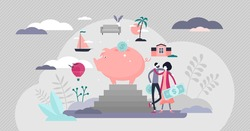 Budgeting plan and money savings flat tiny persons concept vector illustration. Piggy bank strategy as financial bank symbol. Deposit revenue salary for future purchases and personal income management