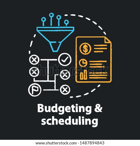 Budgeting & scheduling chalk concept icon. Business strategy, financing plan idea. Goal achieving tactics. Sales increasing methods. Vector isolated chalkboard illustration