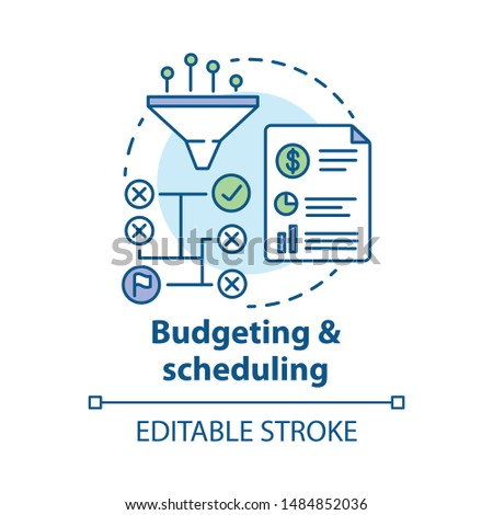 Budgeting & scheduling concept icon. Business strategy, financing plan idea thin line illustration. Goal achieving tactics. Sales increasing methods. Vector isolated outline drawing. Editable stroke