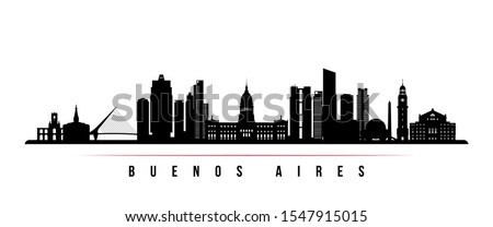 Buenos Aires skyline horizontal banner. Black and white silhouette of Buenos Aires, Argentina. Vector template for your design.  Foto stock ©