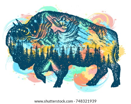 buffalo bison color tattoo art