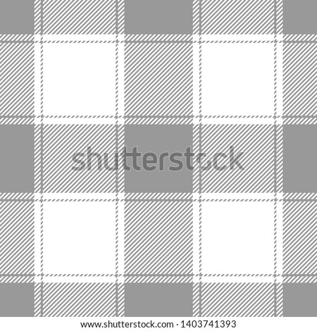 Buffalo check / vichy / gingham seamless plaid pattern vector in grey and white for modern fashion textile design.