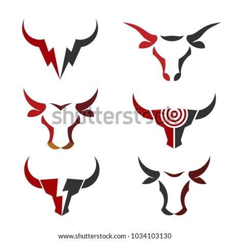 buffalo head logo, abstract bull head logo vector