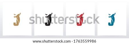 Buffalo Head On Letter Logo Design J