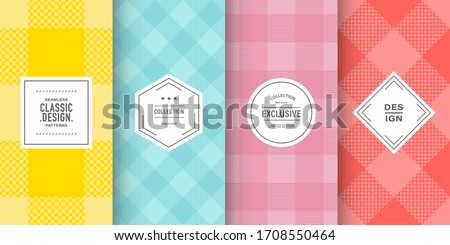 Buffalo pastel check plaid patterns. Set of vector lumberjack ornaments. Hipster flannel shirt background design. Patterns for vintage card, brochure design, fabric and cloth. Cute retro colors