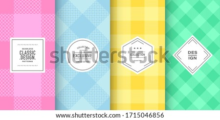 Buffalo pastel check plaid patterns. Set of vector lumberjack ornaments. Hipster flannel shirt background design. Patterns for vintage card, brochure design, fabric and cloth. Cute pastel colors