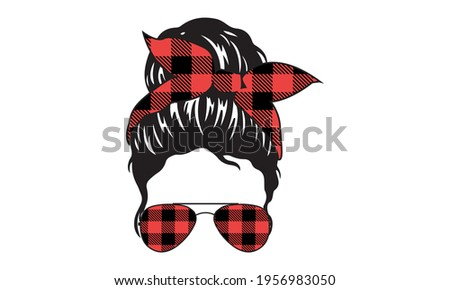 Buffalo Plaid Hairstylist Messy Hair Bun, Messy Bun Mom Lifestyle - Mother's day Vector and Clip Art  Foto stock ©