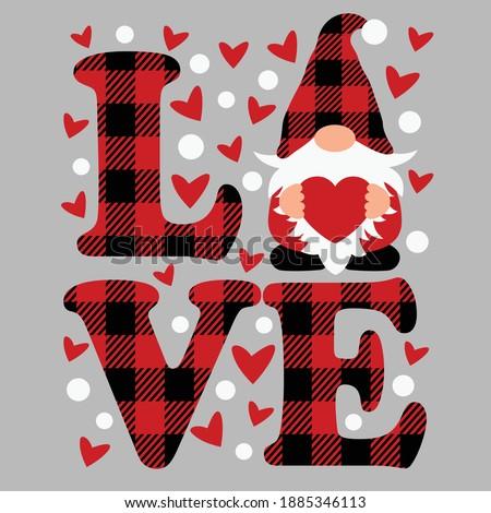 Buffalo plaid love and gnome cut file, Valentine's day vector design Stock fotó ©