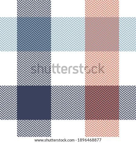 Buffalo plaid pattern in blue, orange, white. Herringbone textured seamless light tartan check plaid for flannel shirt, tablecloth, blanket, or other modern spring summer fashion textile design. Stockfoto ©