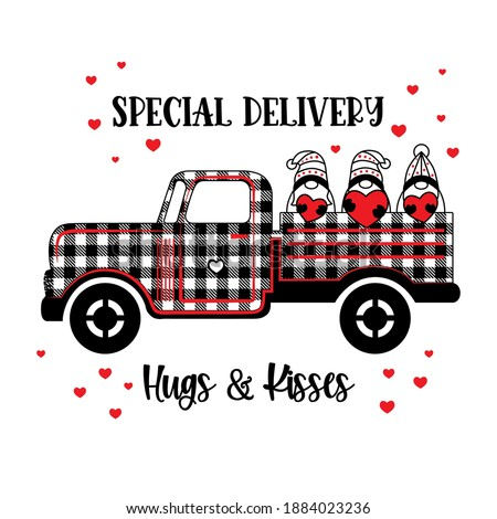 Buffalo plaid pickup truck with Valentine Gnomes. Retro farm truck, cute gnomes with red hearts isolated on white background. Lettering Special Delivery, Hugs and Kisses. Vector doodle illustration.