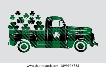 Buffalo Plaid Shamrock  market Truck - St patricks Vector and Clip Art  Сток-фото ©