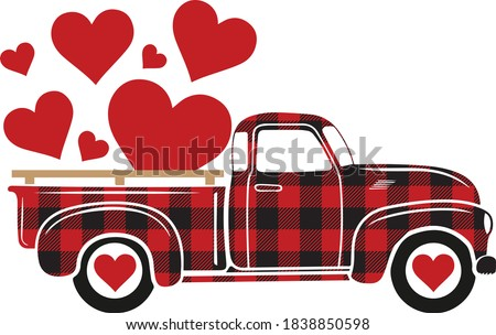 Buffalo plaid truck with hearts, St. Valentine's Day illustration