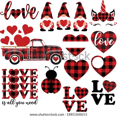 Buffalo plaid Valentine's day bundle, Valentine gnomes cut file, Heart clipart, Unicorn vector, Love shirt design, Old truck with hearts
