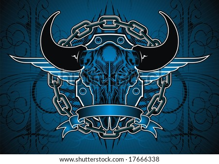 Buffalo skull and chain motif in blue.
