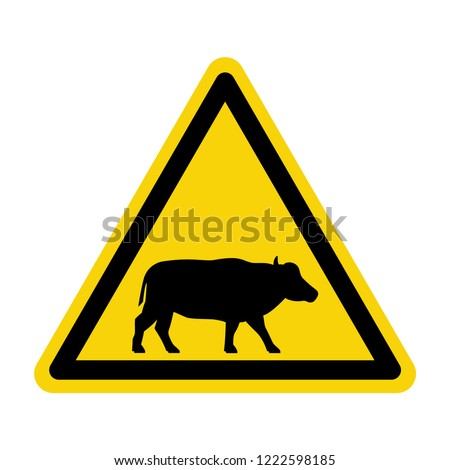 Buffalo warning sign. Symbol, vector, illustration