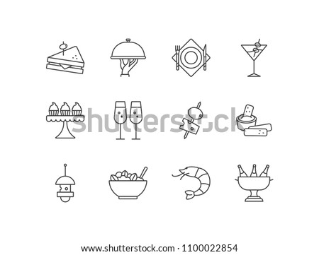 Buffet snacks, banquette appetizers line icons set with sandwich, cloche, plate, cocktail, cupcakes, tapas, canapé, salad bowl, shrimp, champagne.