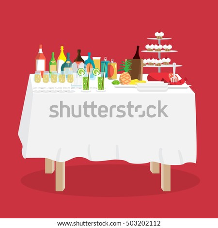 buffet table with food and