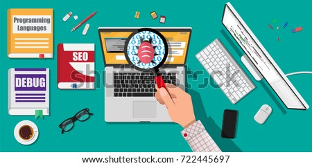 Bug and virus in the programming code, notebook with developers applications, magnifying glass in hand of coder. Software testing quality control. Desktop pc, books. Vector illustration in flat style