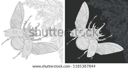 Bug. Coloring Page. Coloring Book. Colouring picture with rhinoceros beetle drawn in zentangle style. Antistress freehand sketch drawing. Vector illustration.
